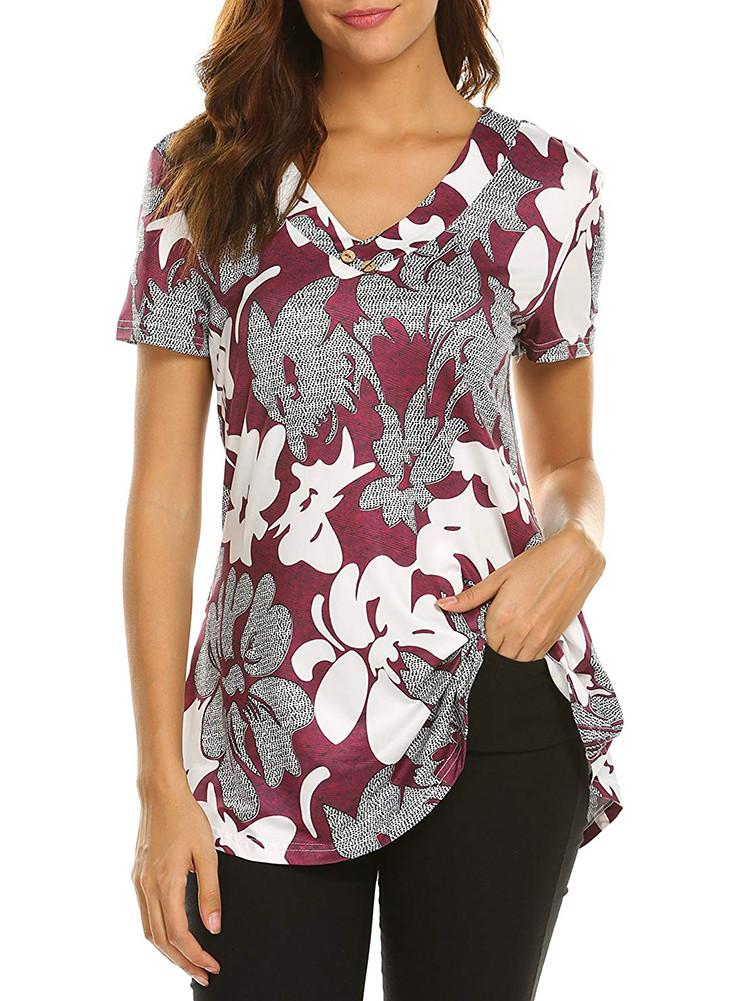 floral-print-button-tunic-tops
