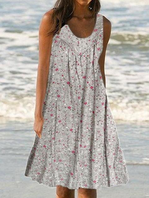 floral-print-sleeveless-beach-summer-dress