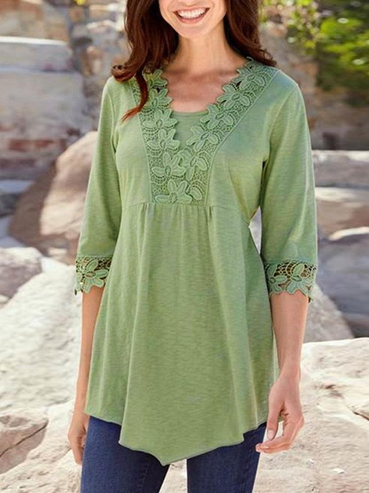 Half Sleeve Lace Casual Blouse Tops