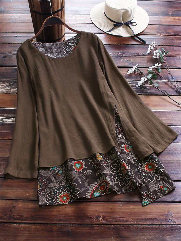 Paisley Print Patchwork Side Button Blouse