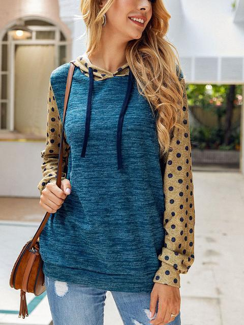Polka Dot Color Block Hoodied Sweatshirt