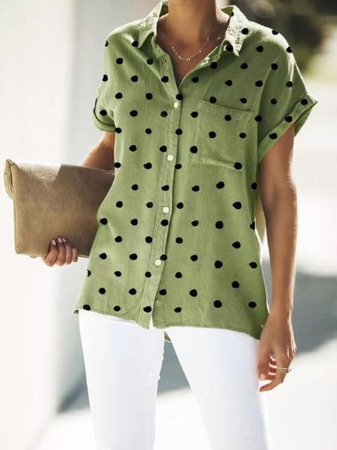 polka-dot-print-casual-blouse-with-pocket-shechic