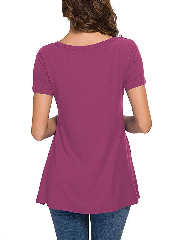 short-sleeve-side-button-decor-tunic