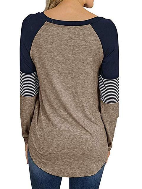 striped-color-block-casual-t-shirt