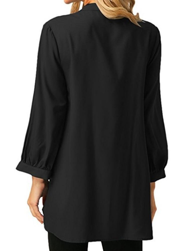 V Neck Pleated Loose Blouse