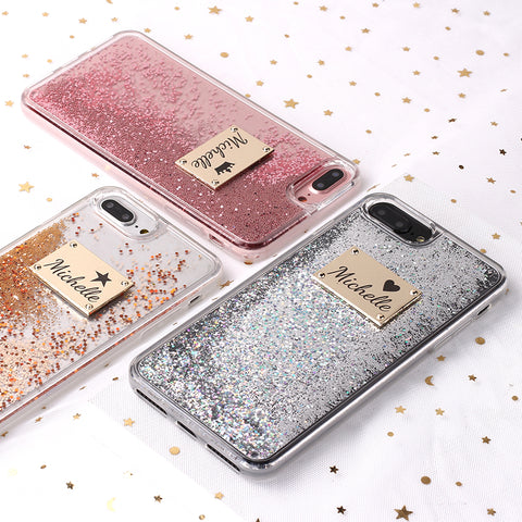 Custom Glitter Sparkle Gold Metal Plate Case