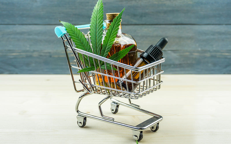 Trolley cart with CBD oils | Cannabidiol | Buy CBD