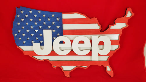 Jeep American Flag Sign