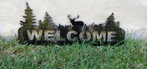 Whitetail Deer Welcome Sign - Horizontal Black Acrylic