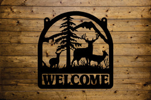 Whitetail Deer Welcome SIgn - Black Acrylic