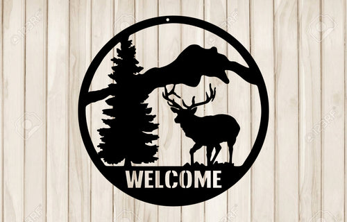 Elk Welcome Sign - Black Acrylic