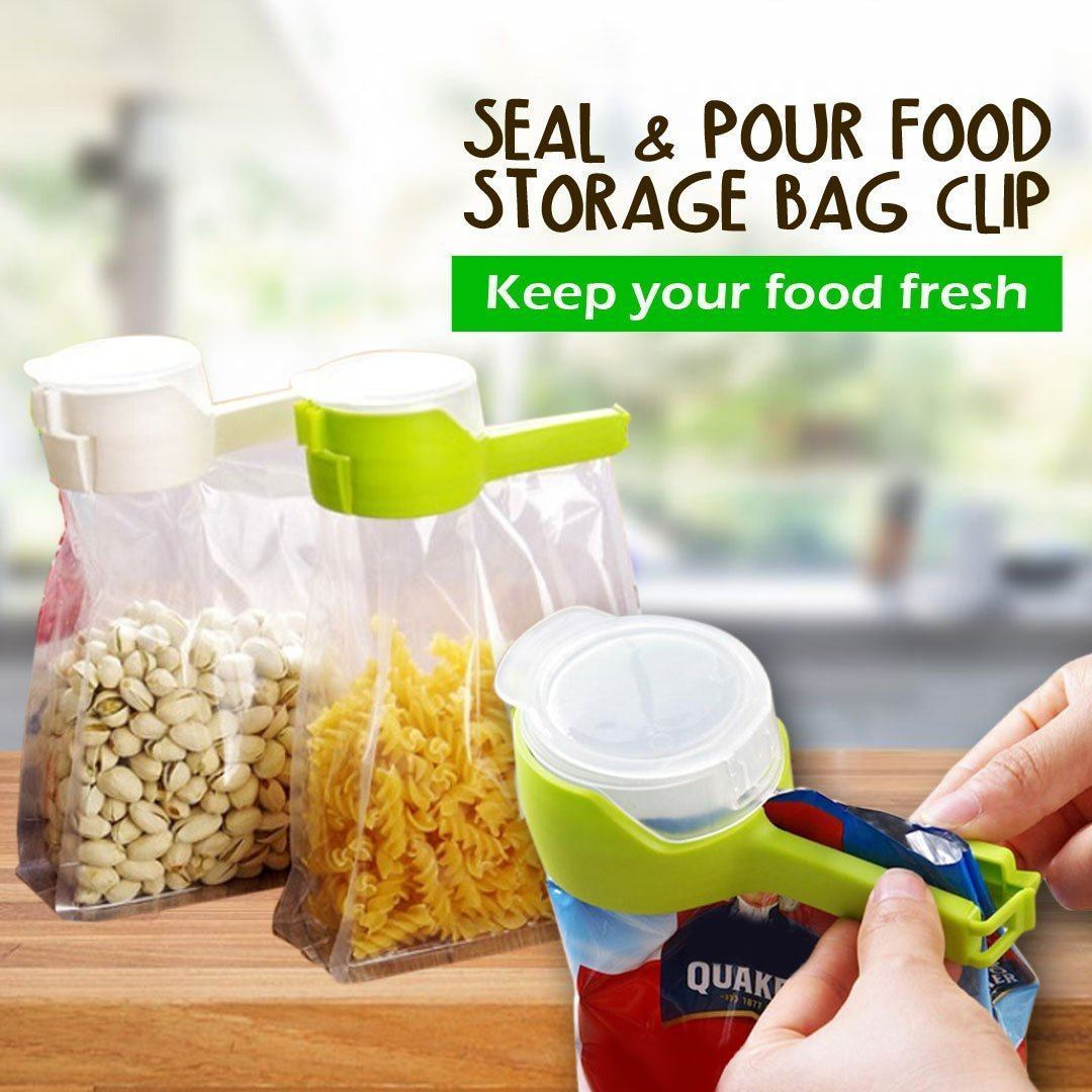 Easy Pour Seal - Food Storage Bag Sealing Clip - Green - Awesales