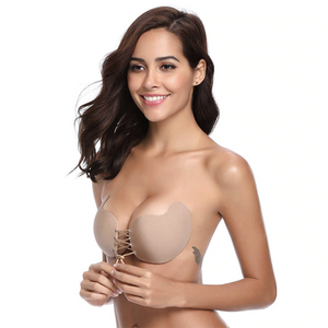 Drawstring Backless Adhesive Invisible Push Up Bra - Winged Beige / A - Awesales