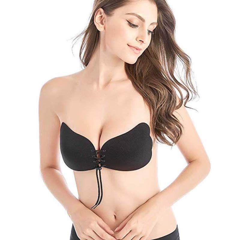 Drawstring Backless Adhesive Invisible Push Up Bra - Butterfly black / A - Awesales