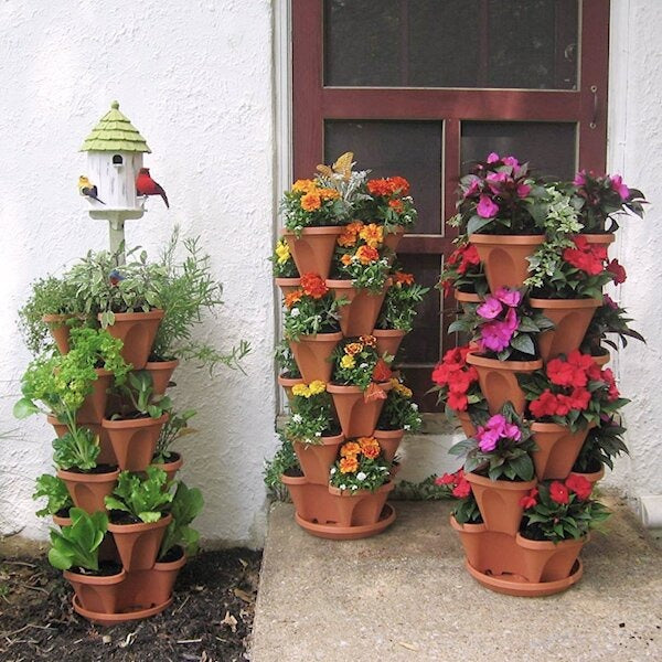 Stackable Flower Tower Planter with Flow Grid System - BRICK-RED / Individual Pot - Awesales