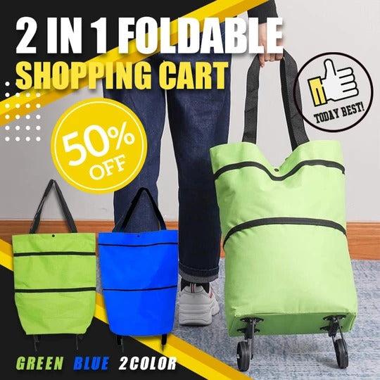 Foldable Shopping Cart - GREEN - Awesales