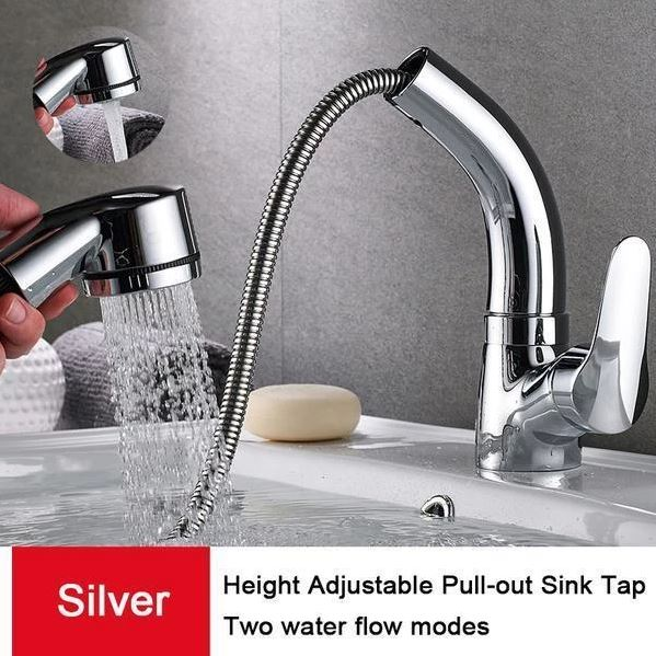 Height Adjustable Pull-out Sink Faucet - Silver - Awesales