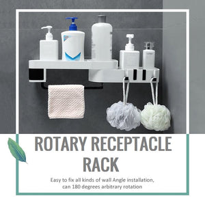 Rotary Receptacle Rack - White - Black - Awesales
