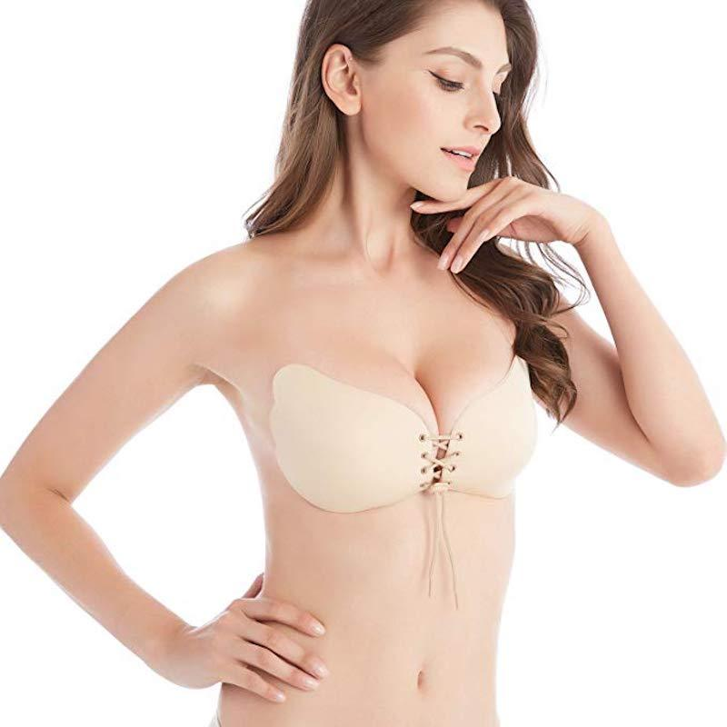 Drawstring Backless Adhesive Invisible Push Up Bra - Butterfly Beige / A - Awesales