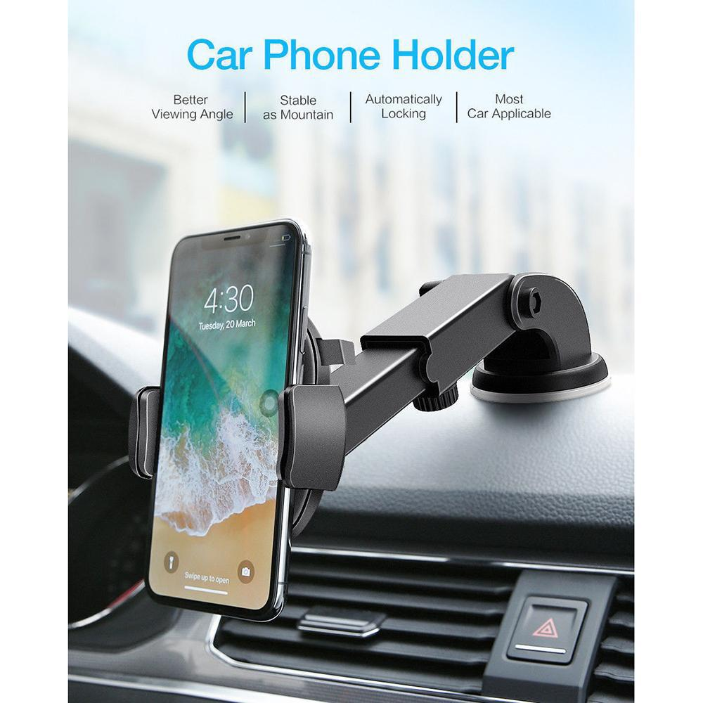 Windshield Car Phone Holder [Universal Fit] - Black - Awesales