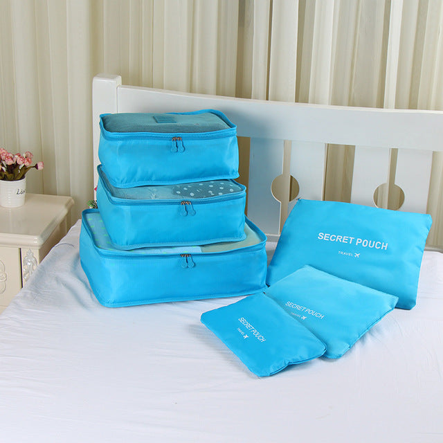 Ms.Tidy - Luggage Packing Organizer Set (6pcs) - sky blue - Awesales