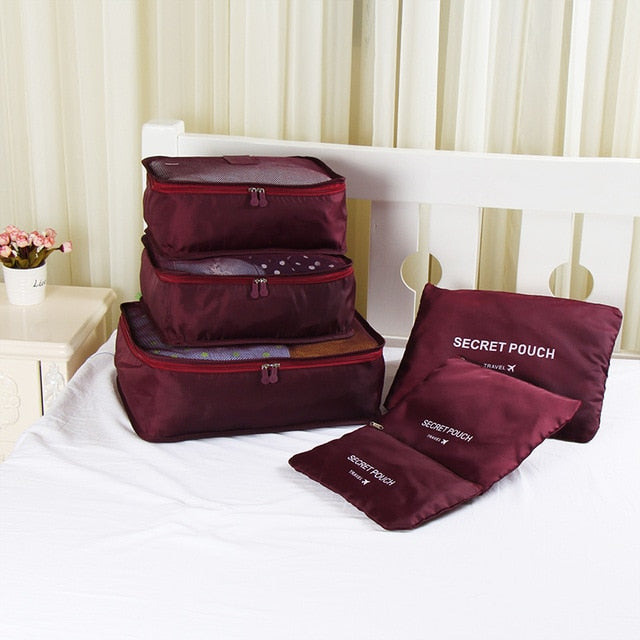 Ms.Tidy - Luggage Packing Organizer Set (6pcs) - Wine Red - Awesales