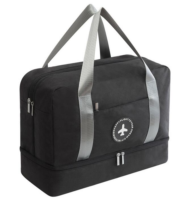 Dry-wet Separated Gym Bag - BLACK - Awesales