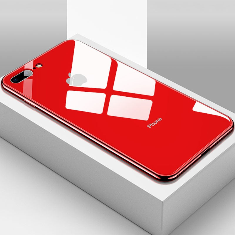 Luxurious All-inclusive Anti-drop Plating Mirror Original iPhone Case - Red / 6/6s Plus - Awesales