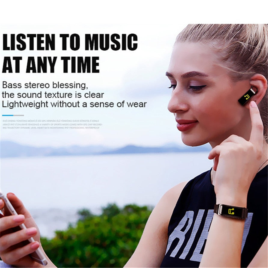 Smart Bracelet with Bluetooth Earphone - - Awesales
