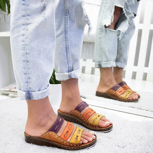 Women Chic Three-color Stitching Sandals - Awesales