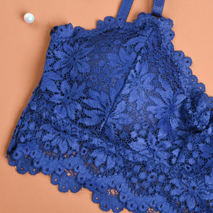 LaxChic - Sexy Lace Croptop Bralette - Blue / Free Size (85 ~ 145 lbs) - Awesales