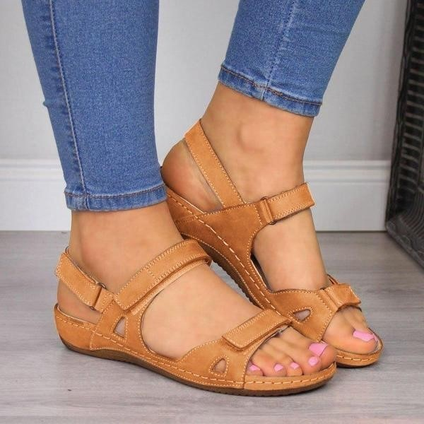 FINEWALK™ - Premium Faux Leather Orthopedic Women Sandals (2020 Collection) - Brown / 3 - Awesales