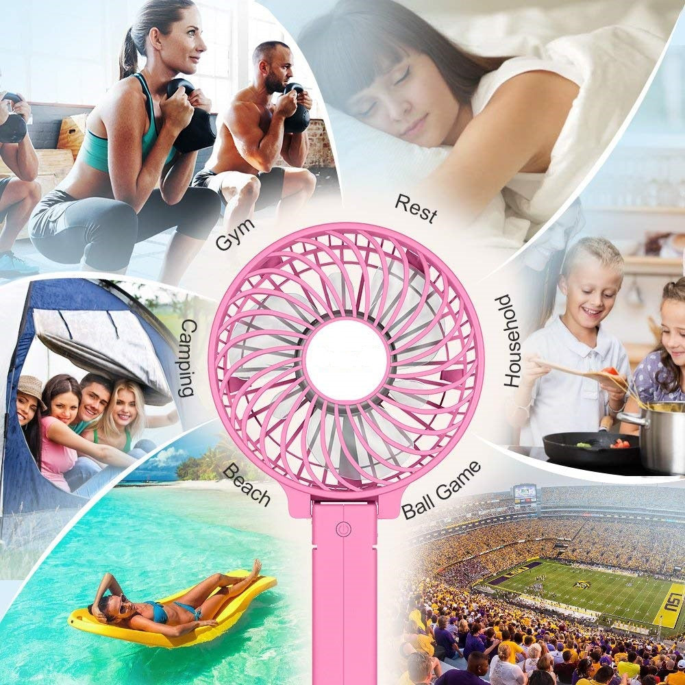 Portable Hand Fan USB Rechargeable - Pink - Awesales