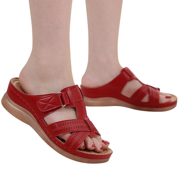 FINEWALK™ - Premium Faux Leather Orthopedic Open Toe Sandals - Red / 6 - Awesales