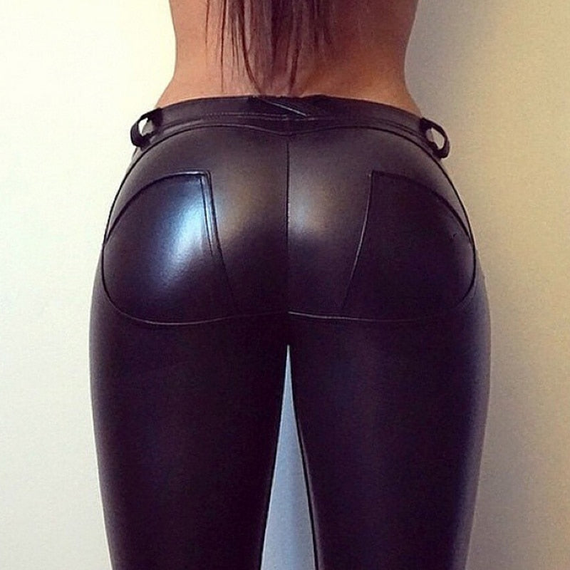 Capri™ - Black Faux Leather Low Waist Leggings (Plus Size Available) - - Awesales
