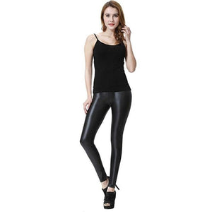 Capri™ - Original Faux Leather High Waist Leggings with Tummy Control - S - Awesales