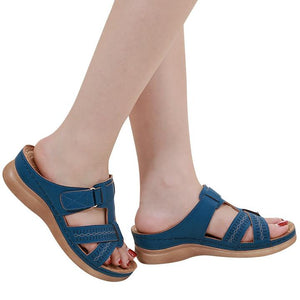 FINEWALK™ - Premium Faux Leather Orthopedic Open Toe Sandals - Blue / 6 - Awesales