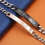 "Couple Bracelet ""Her King + His Queen"" - - Awesales"