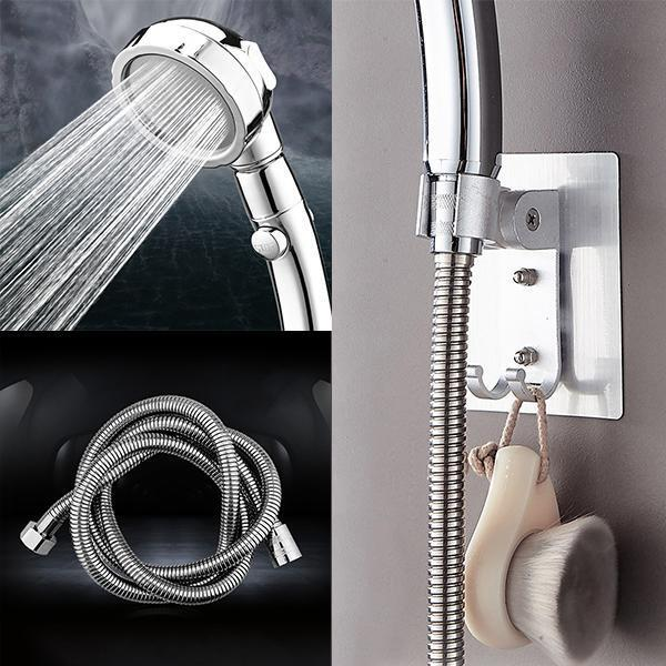 The Misugi - 3 In 1 High Pressure Showerhead (US Standard Hose Size) - Silver-Full Set (include hose + holder) - Awesales