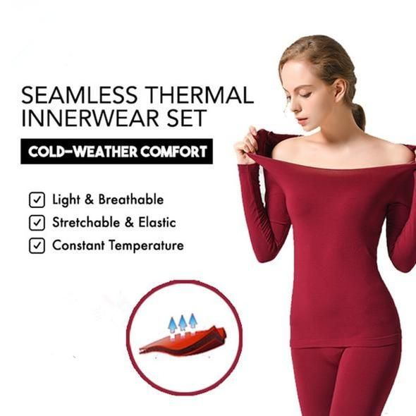 37THIN™ - Seamless Thermal Innerwear Set (Top + Bottom) - Wine Red - Awesales