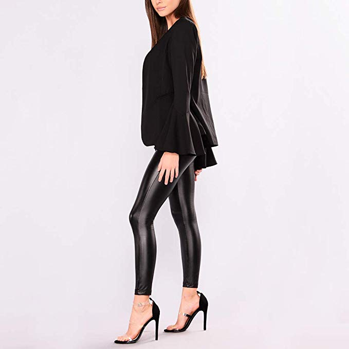 Capri™ - Black Faux Leather High Waisted Leggings (Plus Size Available) - - Awesales