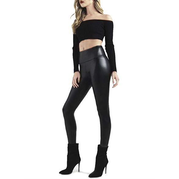 Capri™ - Black Faux Leather High Waisted Leggings (Plus Size Available)