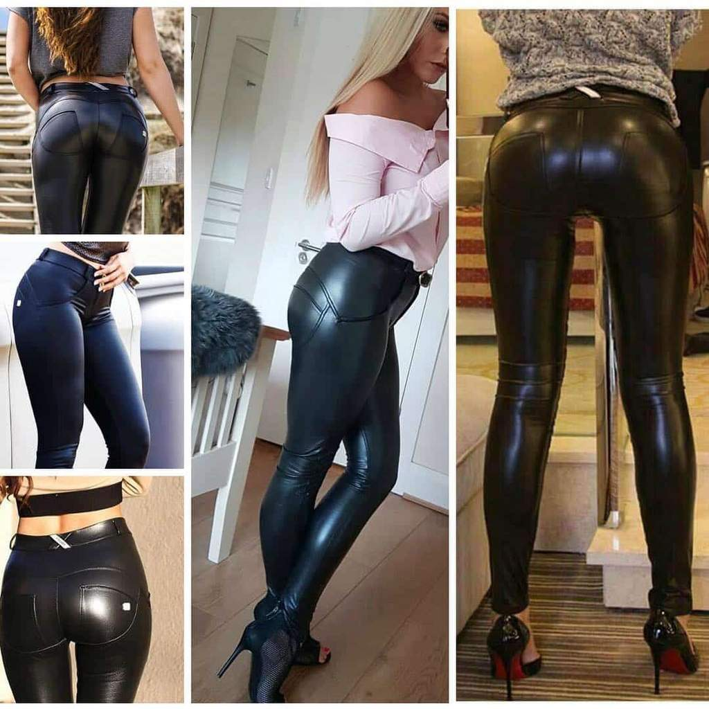 Capri™ - Black Faux Leather Low Waist Leggings (Plus Size Available) - Awesales