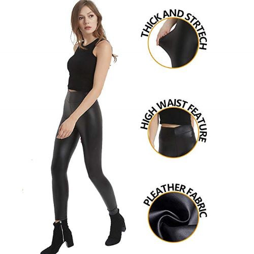 Capri™ - Black Faux Leather High Waisted Leggings (Plus Size Available) - Awesales