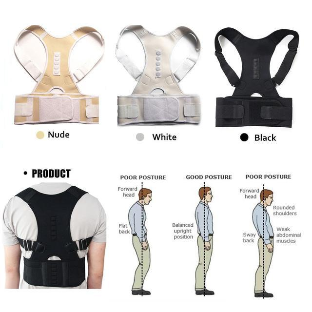 Magnetic Posture Corrective Therapy Back Brace For Men & Women [2019 Version] - White / L - Awesales