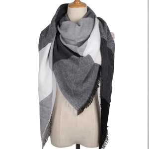 Winter Triangle Scarf For Women 2019 - Black White - Awesales