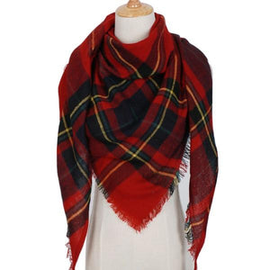 Winter Triangle Scarf For Women 2019 - BlackRed - Awesales