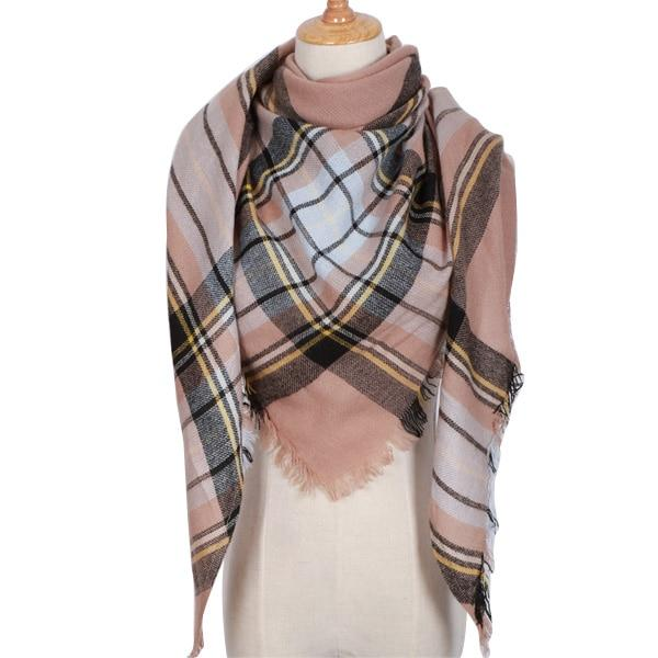 Winter Triangle Scarf For Women 2019 - BrownWhite - Awesales