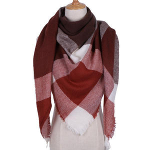 Winter Triangle Scarf For Women 2019 - CoffeeWhite - Awesales