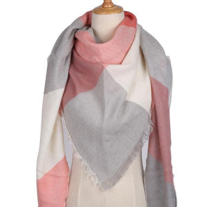 Winter Triangle Scarf For Women 2019 - Gray Red - Awesales